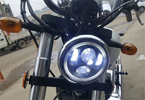 HOZAN 5-3//4 Black LED Projector Daymaker Headlamp for Harley Davidson 883 48 Street 750 Night Road Indian Scout