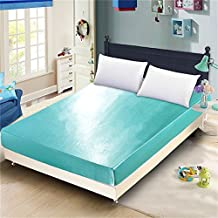1 Piece Classic Luxury Silky Soft Satin Fitted Sheet Solid Color (Aqua Blue, Queen)