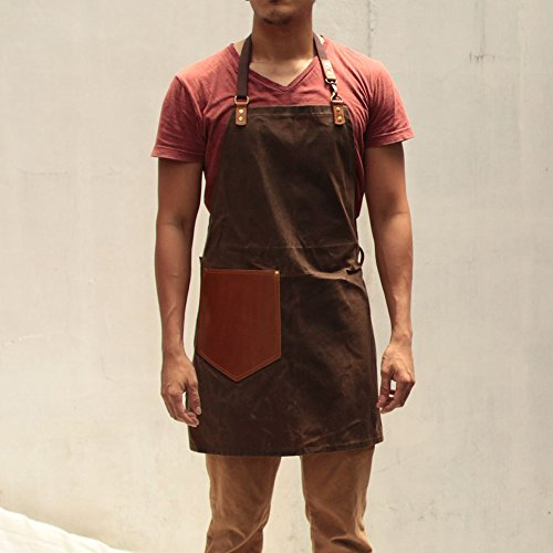 Handmade Waxed Canvas Apron with Leather Straps | Water Resistant Artisan Aprons by Gouache (Mud Brown)