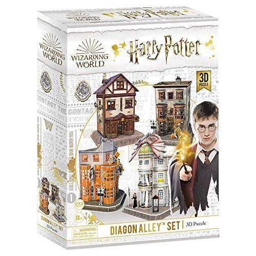 chollos oferta descuentos barato CubicFun Puzzle 3D Harry Potter Callejón Diagón Colección 4 en 1 Set Quality Quidditch Supplies Ollivanders Wand Shop Weasleys Wizard Wheezes y Gringotts Bank 274 Piezas