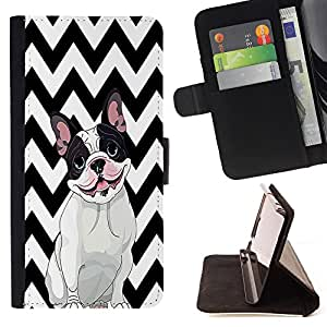 Pattern Queen - FRENCH BULLDOG Chevron - FOR Samsung Galaxy S6 - Hard Case Cover Shell