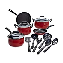 14-Piece Red Nonstick Cookware Set