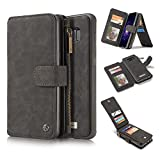 Hulorry Galaxy S8 Plus Case Wallet, Wallet Case with Card Slots Money Pocket PU Leather Shockproof Protection Case Drop Resistant Cover Smart Heavy Duty Sleeve for Samsung Galaxy S8 Plus