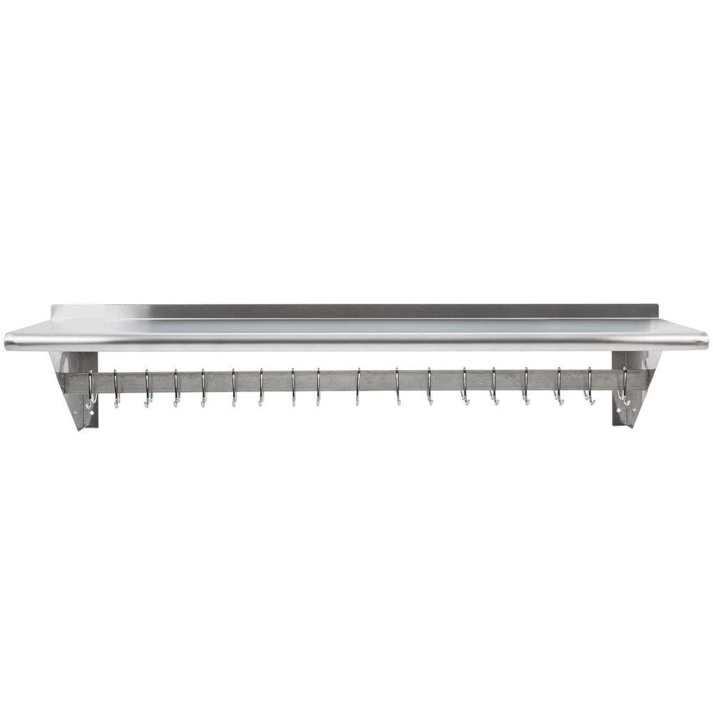 Hakka 15'' x 60'' Commercial Stainless Steel Wall Mounted Pot Rack with Shelf and Hooks
