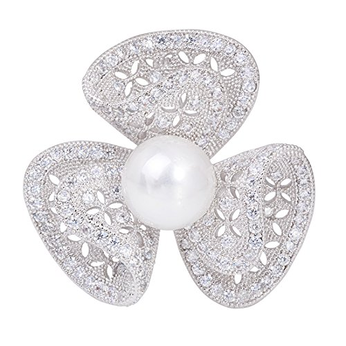 OBONNIE Silver Micro Pave Cubic Zirconia Clover 3 Leaf Blooming Pearl Flower Brooch Pin Wedding Jewelry