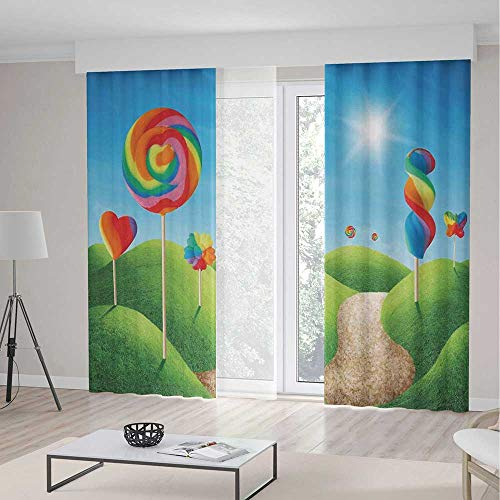 Curtains for Living Room,Fantasy,Theme Home Decor Dining Room Bedroom Curtains for Kids Room Window Treatments,Fantasy Candy Land With Delicious Lollipops and Sweets Sun Cheerful Fun Print -