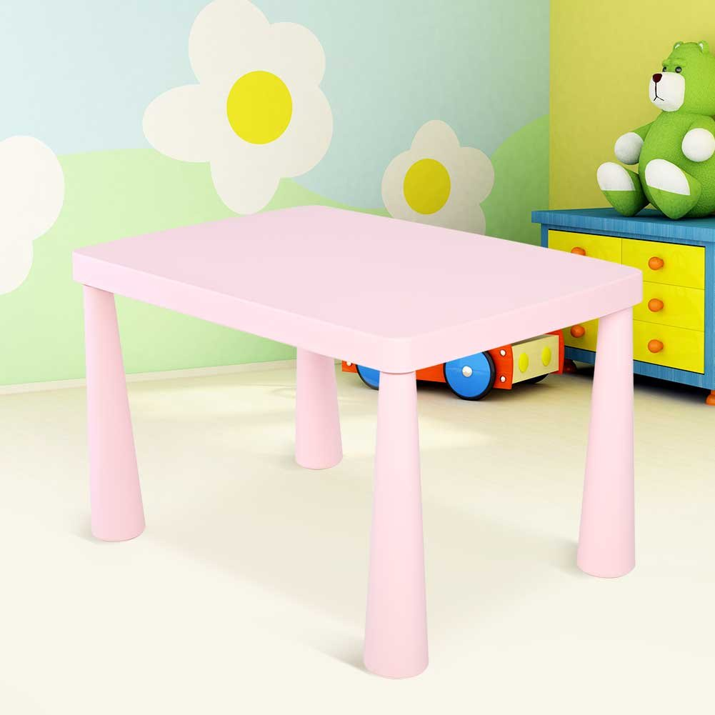 Plastic Kids Children's Play Table, Stackable School Home Learning and Education Activity Table Kid's Play Learning Furniture for 1.5-8 Years Old Kids,30'' x 21'' x 20'',Pink