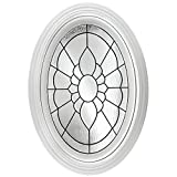 Floral Pattern Fixed Oval Geometric Fin Vinyl Window