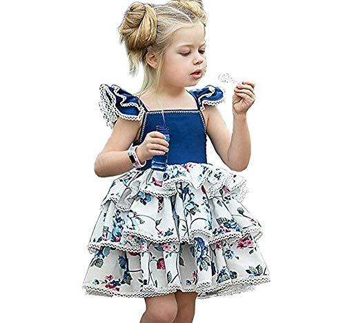 - HUAER& Toddler Baby Floral Dress Girl Backless Fashion Sleeveless Vest Braces Skirt Sundress (100=(for 2-3 Years), Blue & Flower)