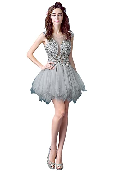 Vimans Short Sexy See Through Lace And Tulle Bridal Wedding