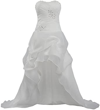 ants womens casual organza high low wedding dresses bridal gown size 2 us ivory