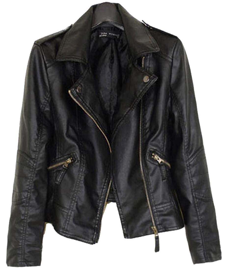 1 pujinggeCA Womens Fashion Tailored ZipUp Faux Leather Quilted Racer Jacket
