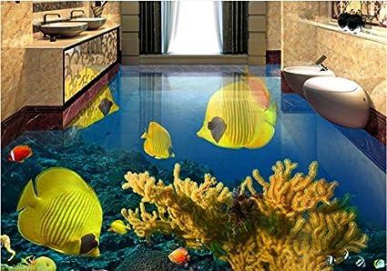 LWCX Custom 3D Floor Tiles Tropical Fish Underwater Wallpaper PVC Vinyl Mural Water Proof