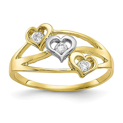 10k Yellow Gold Triple Heart Cubic Zirconia Cz Band Ring Size 6.00 S/love Fine Jewelry Gifts For Women For Her