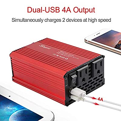 500W Power Inverter DC 12V to 110V AC Converter with 4A Dual USB Car Charger: Car Electronics