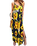 Kidsform Sleeveless Maxi Dresses for Women Casual Sunflower Floral Print Spaghetti Straps Strappy Long Dress Cotton V Neck Side Split Summer Beach Party with Pockets Y-Floral X-Large