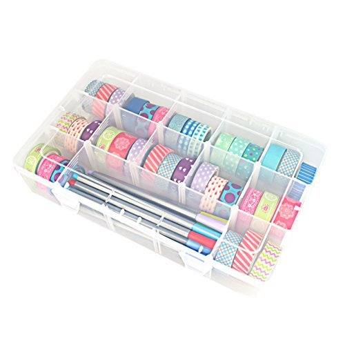 OffKits Tape Jewelry Makeup Markers Storage Box Organizer Divider Closet Container, Ziploc Weather Shield Case, 15 Square, 45 rolls 2 Inches Diameter Tape Compatible, Clear