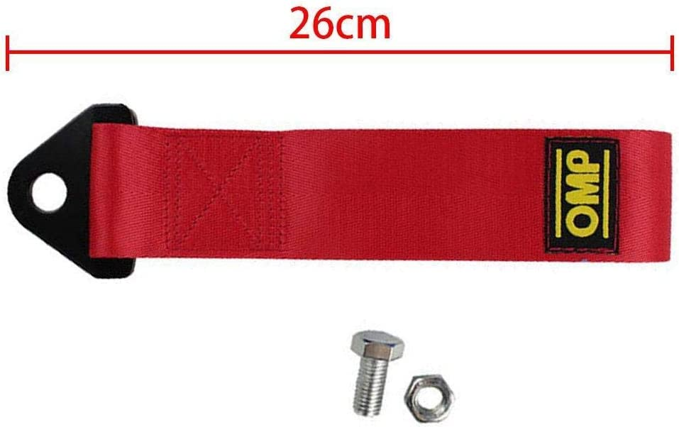 Red Fghuim 1 Pcs Decoration Belt Universal Trailer Rope Front and Rear Bar Traction Belt 2 Inch Trailer Rope,Strap Tow Professional Shackle Universal Emergency Vehicle Trailer Rope for Car