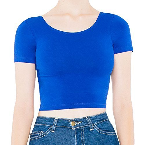 American Apparel Coton Spandex Pull-over T-shirt Court - Lapis, XS - 36