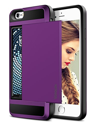 iPhone 6 Case, Vofolen Impact Resistant Protective Shell iPhone 6 Wallet Cover Sliding Card Holder Shockproof Rubber Bumper Case Anti-scratch Hard Shield for iPhone 6 6S (Purple) (Purple Rubber Solid)