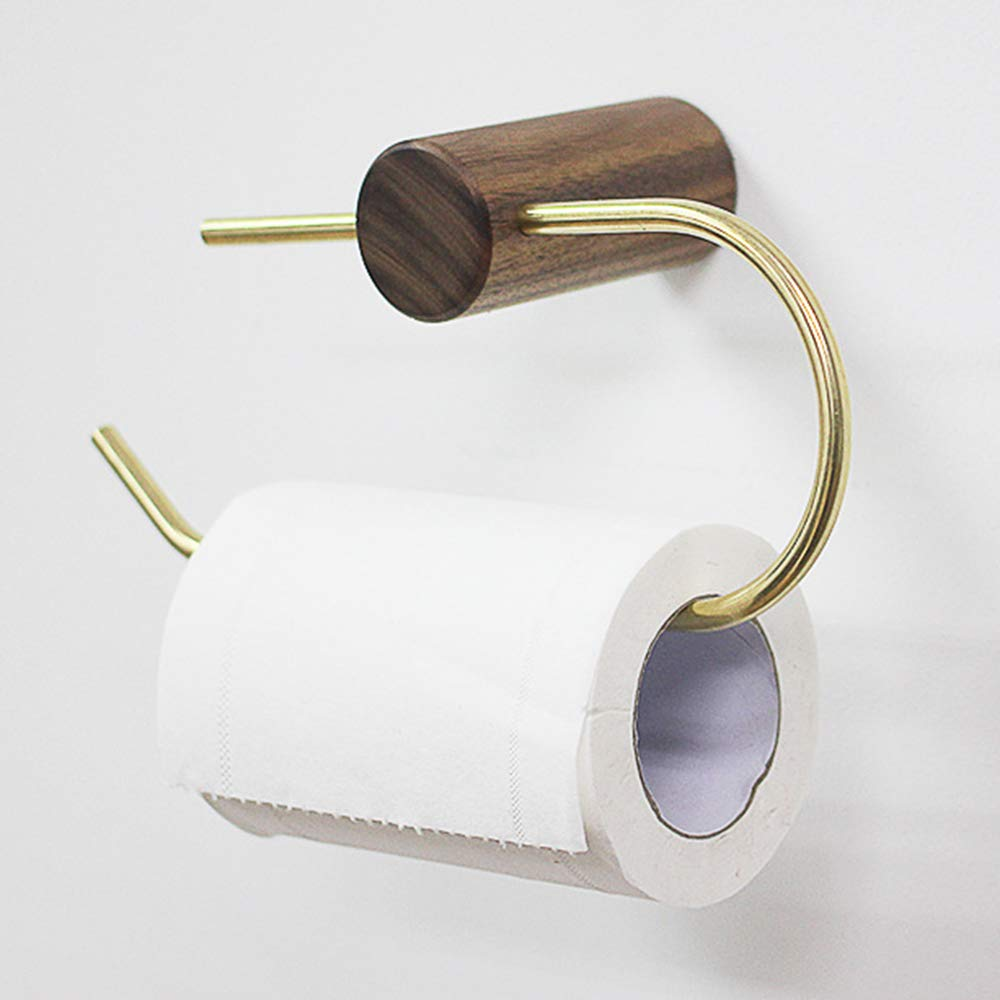 ERT Toilet Roll Holder, Punch Free Wooden Durable Paper Holder Wall-Mounted Thicken Toilet Paper Holder
