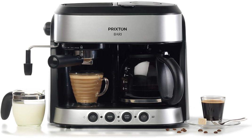 Double machine a cafe//Cafetiere Expresso 3 en 1 : Machine Expresso Am/éricain et Cappuccino PRIXTON Bari 15 barres de pression double syst/ème d/égouttage puissance 1850 W