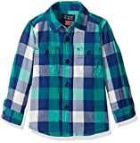 The Childrens Place Boys Long Sleeve Twill Woven Shirt, Green/Blue, 18-24MONTH