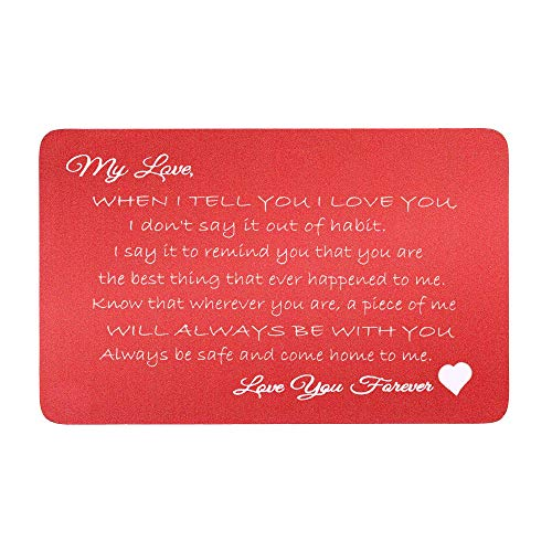 Love You Forever Red Engraved Metal Wallet Mini Love Insert Gift Note Card ()