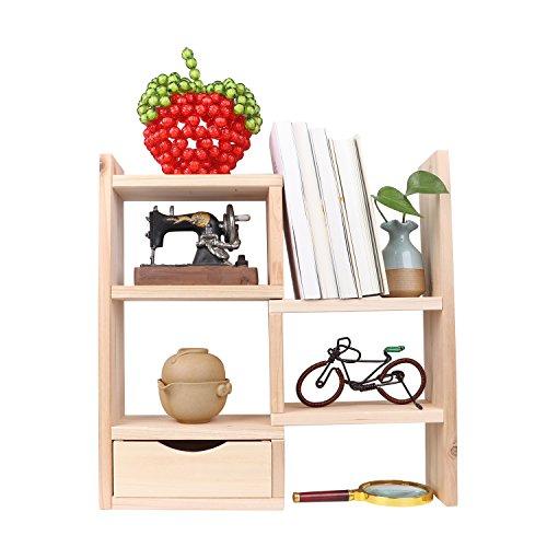 Manfei Adjustable Desktop Bookshelves Natural Wood Display Shelf Rack Counter Top Bookcase Storage Organizer 1 Drawer for Office & Home Decor Wood by Manfei