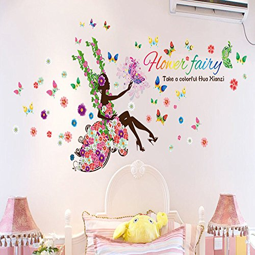 NIHAI Wall Sticker Decorations- Pansy Fairy Swinging Wall Sticker DIY Bedroom Living Room Background Wall Sticker Decal Decor for Kids Bedroom or Birthday - Swinging Kitchen Door Restaurant