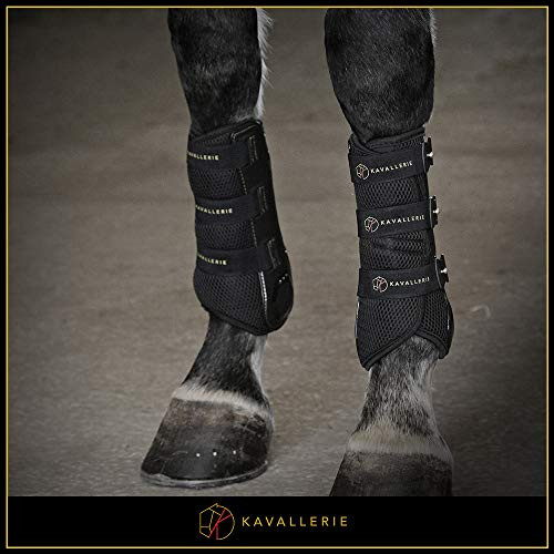 Dressage Boots for Horses by Kavallerie: Pro-K 3D Air-Mesh Horse Boots, Secure Leg Protection, Lightweight and Tough White & Black Dressage Sports Boots [Black] by Kavallerie (Image #1)
