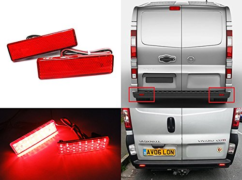 2x Red Lens Rear Bumper Reflector LED Fog Tail Stop Brake Light DRL For Vivaro Movano Master Trafic Primastar RZG