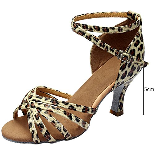Hebilla De Leopardo Wealsex Baile Salón Zapatos Mujer Suave Baile baile Latino Fondo Sandalias 77wvRqx