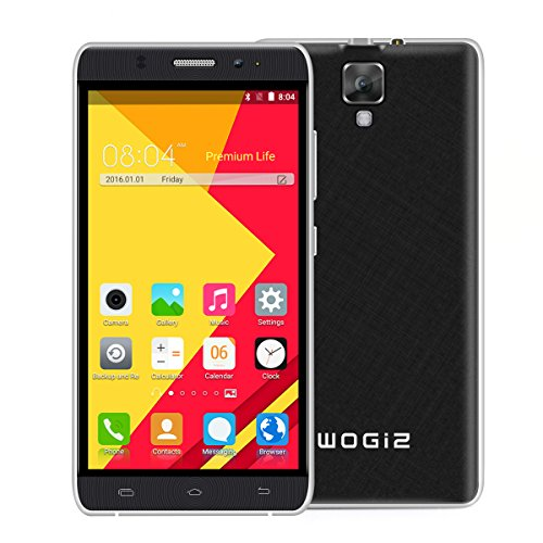 Wogiz 5.5inch WX90 Pro SmartPhone Unlocked Android 5.1 MTK6580 Quad Core ROM 8GB 5.0MP Camera Dual Sim Quadband GSM/3G Cellphone (Black)