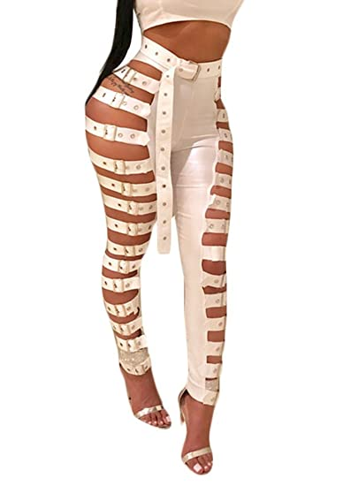 051f9fb213663b Adogirl Womens Sexy Lace Up Bandage Hollow Out PU Leather Pants High Waist  Skinny Leggings White XXL at Amazon Women's Clothing store: