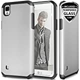 LG Tribute HD Case, LG X Style LS676 Case With TJS Tempered Glass Screen Protector Included, Ultra Thin Slim Hybrid Shockproof Drop Protection Impact Rugged Hard Armor Case Cover (Black/Grey)