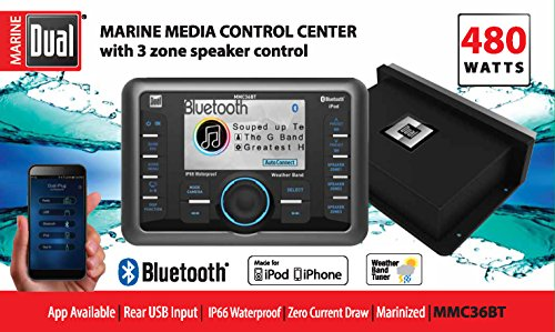 Dual Marine MMC36BT Bluetooth 480 Watt Media Control Center - Control Media Center