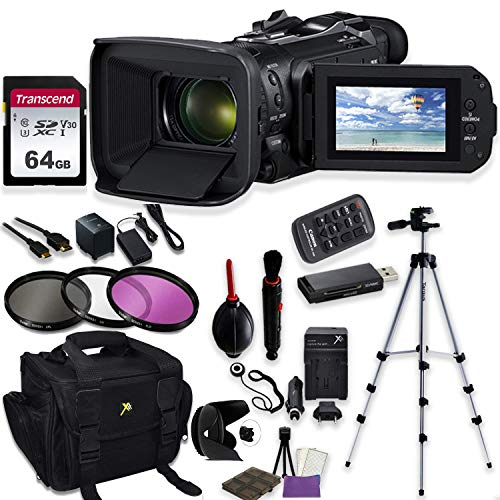 Canon Vixia HF G60 UHD 4K Camcorder with Starter Accessory Kit Including Padded Gadget Case, Filters, Tripod & 64GB High Speed U3 Memory Canon Starter Kit Camcorder