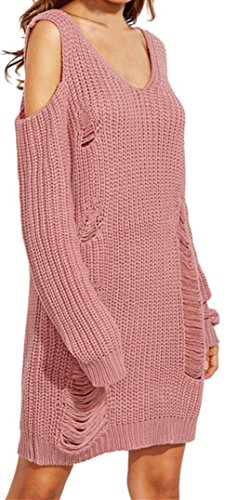 Sweater Dress TOOPOOT Women's Hollow out Knitted Sweater Tops (4, pink)