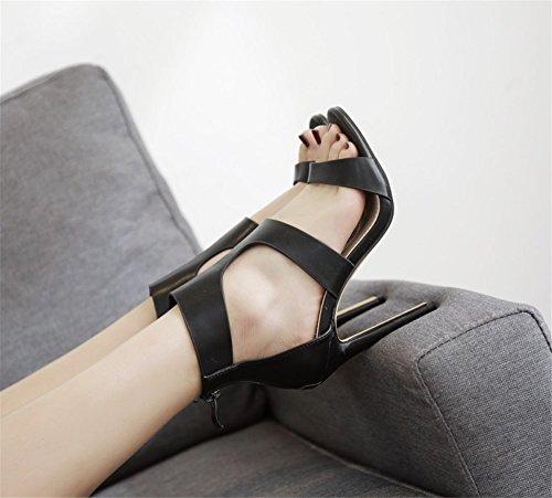 Tendance Open Taille Marron Été Toe Femmes Sandales New Travail Chaussures Noir 2018 hauts Chaussures Femmes Style Parti Talons Sauvages Printemps 37 Sexy Élégant Color de xO1B04wq
