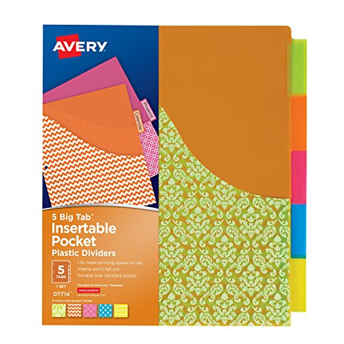 5 Pocket Design (Avery Big Tab Insertable Plastic Dividers with Pockets, 5 Tabs, 1 Set, Assorted Fashion Designs (07714))