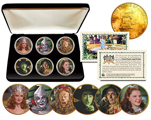 Collectible Display Set - WIZARD OF OZ Eisenhower IKE Dollar 6-Coin Set 24K Gold Plated w/Display Box