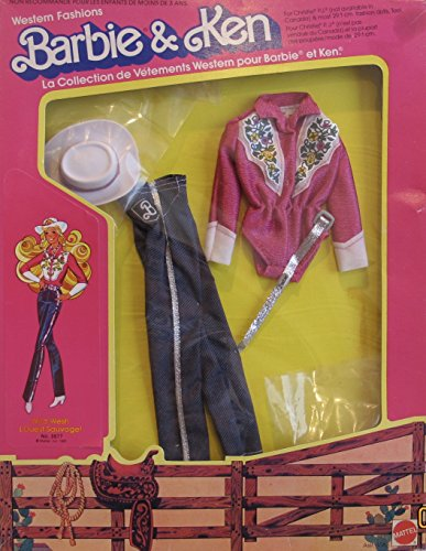 BARBIE & Ken 'WILD WEST' WESTERN FASHIONS w TEDDY Style TOP, Pair of PANTS, Cowgirl HAT & MORE (1981 Mattel Hawthorne) - Barbie And Ken Box Costume