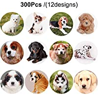 Outus 300 Pieces Dog Stickers 1.5 Inch Puppy Stickers Adorable Labels for Kids Birthday Party Favors, Classroom Reward, Scrapbooking (12 Designs)