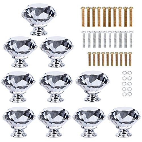 HOMEIDEAS 10PCS 40MM Diamond Crystal Glass Cabinet Knob Cupboard Drawer Pull Handle,3 Size Screws (Crystal Glass Drawer Knobs)