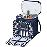 Best Choice Products 2 Person Insulated Picnic Bag Lunch Tote W/Flatware, Plates- Blue