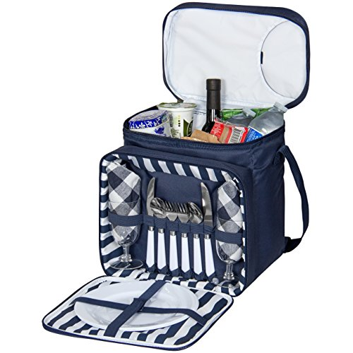 Best Choice Products 2 Person Insulated Picnic Bag Lunch Tote W/Flatware, Plates- Blue by Best Choice Products
