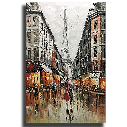 Asdam art Paintings,Hand-painted Eiffel Tower Canvas Wall Art Abstract Couple Painting Vertical Paris Artwork for Home…