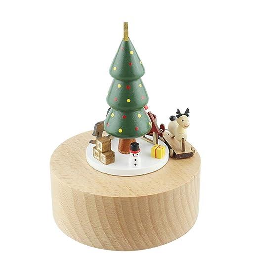 SHUANGRUIYUAN Árbol de Navidad de Madera Caja de música mecánica Unidad de Haya niños Manualidades Creativas Adornos Regalos de cumpleaños Regalo Pura música: Amazon.es: Hogar