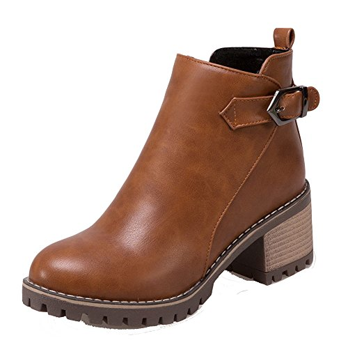 Kitten Heels Toe Suede Pointed Shoes Women's Zipper AgeeMi Closed Solid Brown Boots UZwxYXaqn